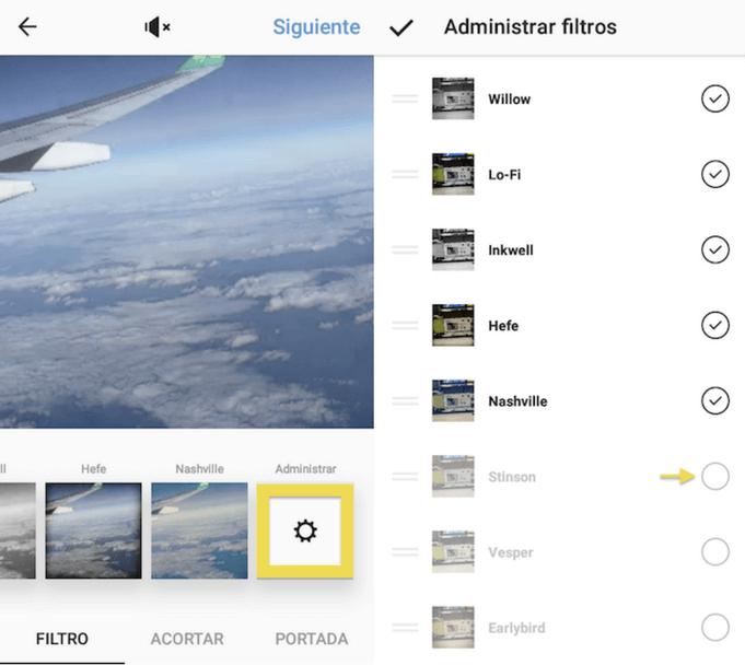 Administrar filtros de Instagram