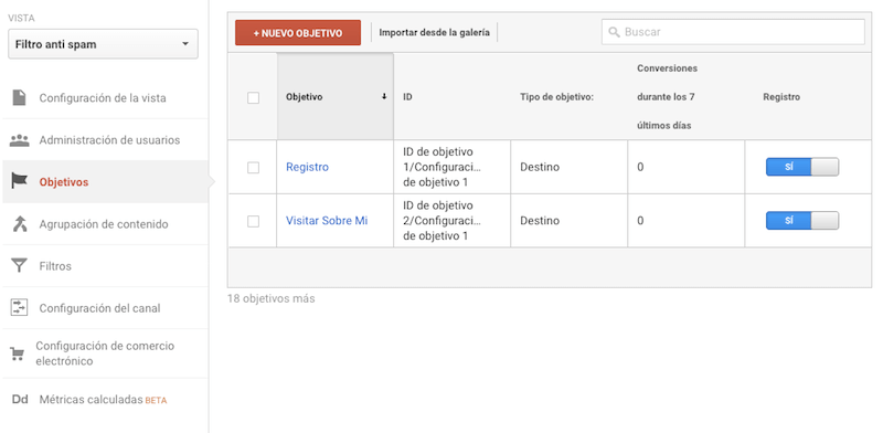 Definir un objetivo de conversion en Google Analytics
