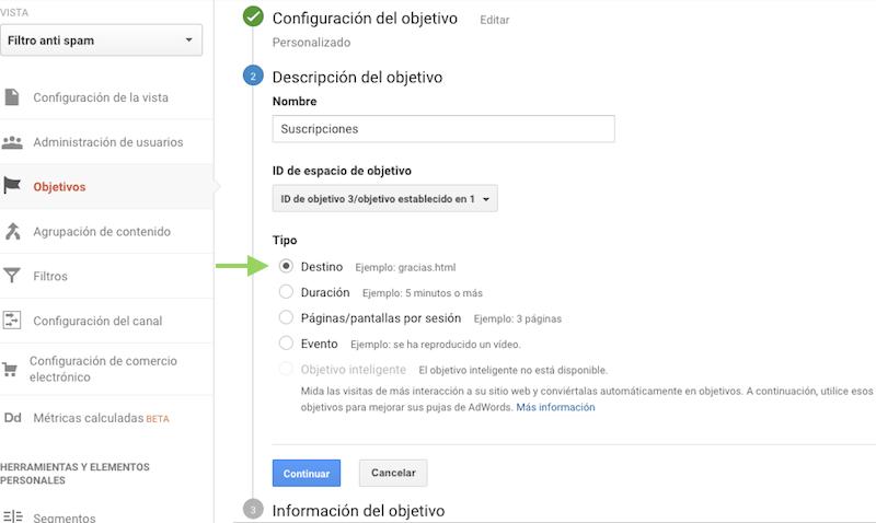 Configurar un funnel de conversion con Google Analytics