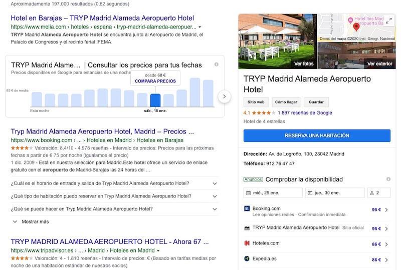 Panel destacado de Google Travel